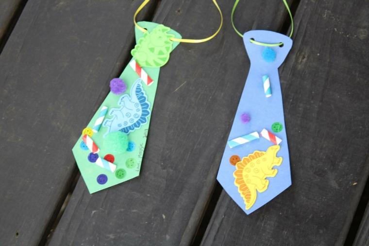 idee per lavoretti per bambini: delle cravatte di cartone colorate e decorate