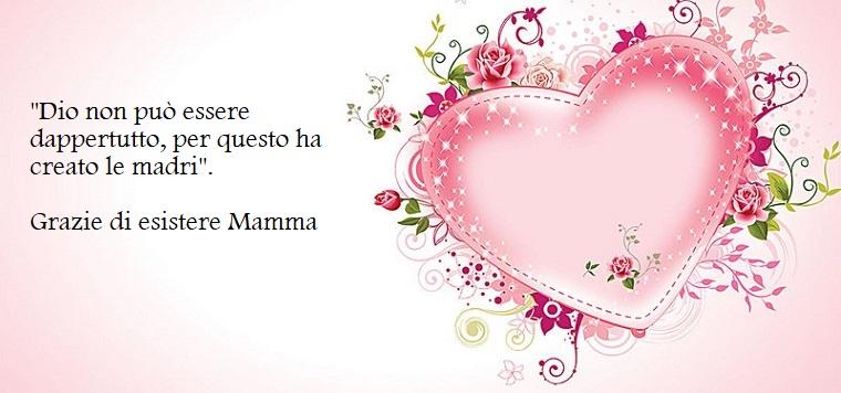 Un ringraziamento per la festa della mamma, immagine con cuore e fiori