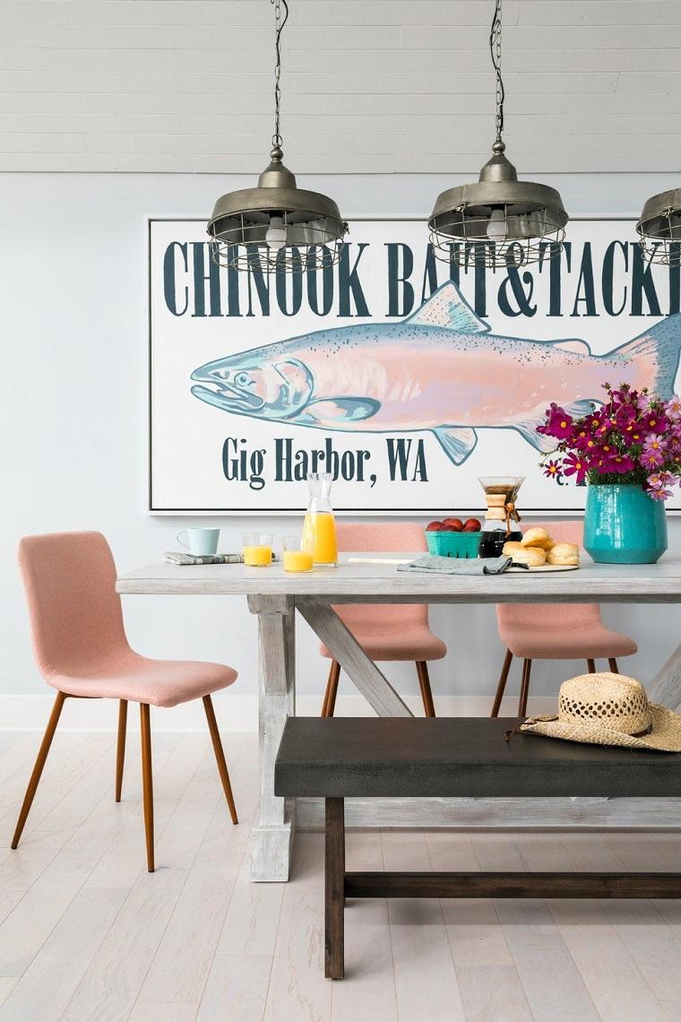 Come arredare casa, sala da pranzo con un tavolo di legno rettangolare, panchina colore nero e sedia rosa, decorazione della parete con quadro
