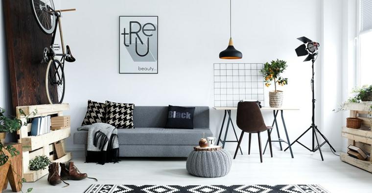 Salotto con divano di colore grigio, interni case moderne bici appesa su parete di legno, giardino verticale fatto di bancale di legno