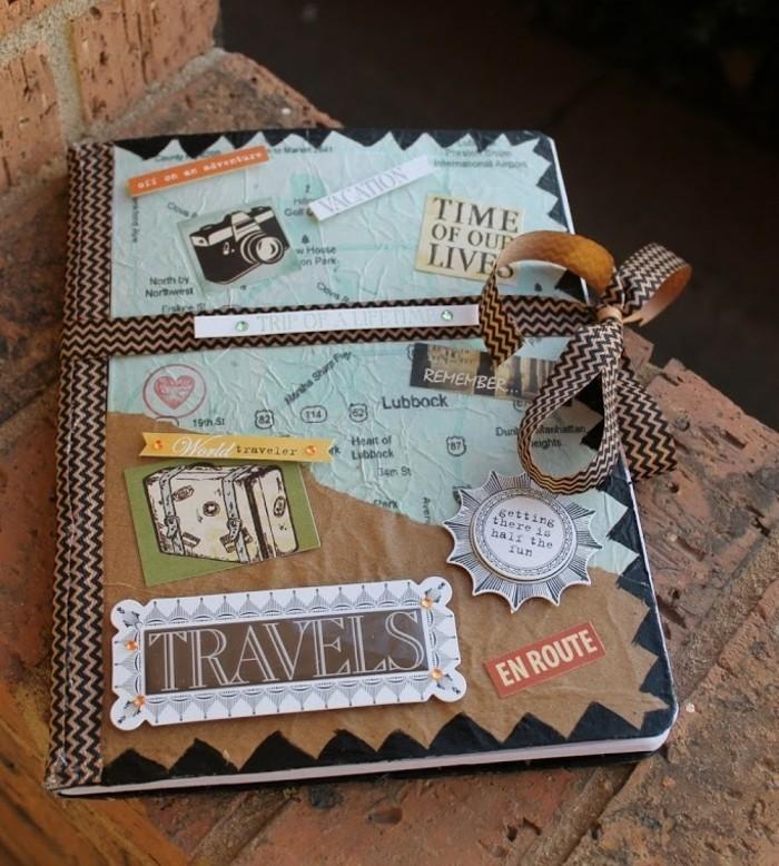 Regali fai da te, diario di un viaggio, copertina decorata con adesivi, regalo perfetto per un amico