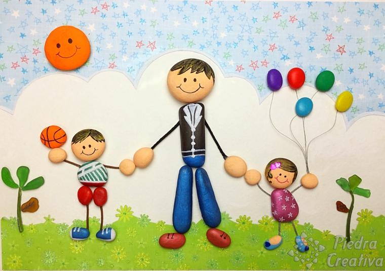 disegni da colorare festa del papà disegno con sassolini colorati e incollati