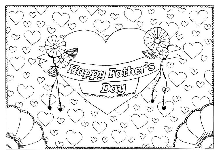 disegno da stampare e colorare per bambini scritta happy father s day e cuore
