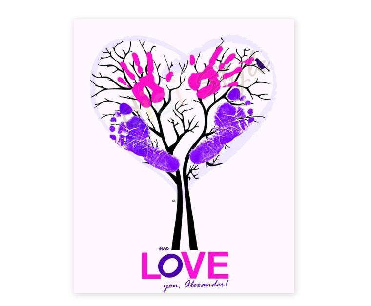 un'idea per regali festa del papà, un disegno a forma di albero con le impronte colorate di mani e piedi
