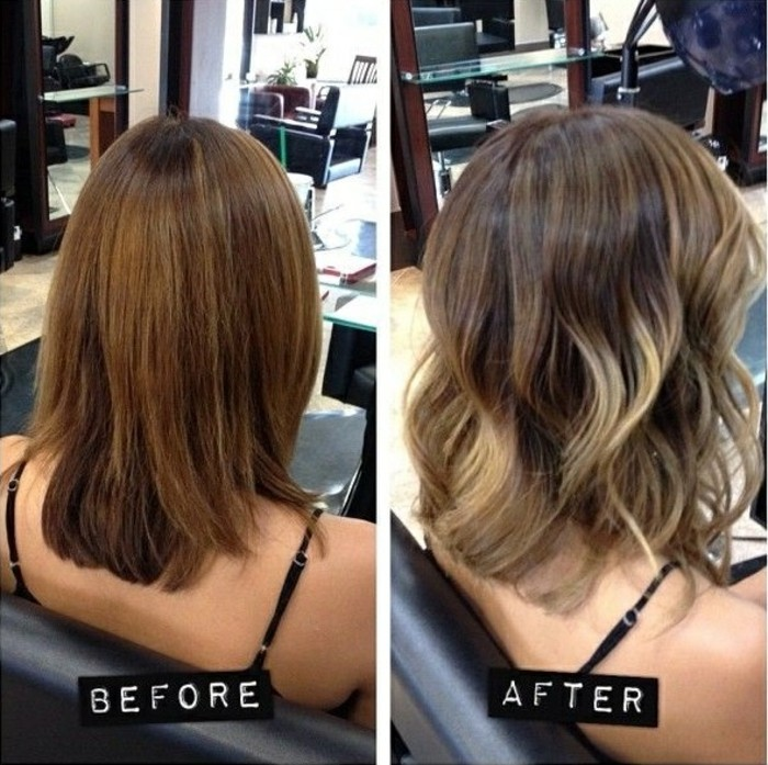 prima e dopo il trattamento per realizzare dei balayage capelli scuri