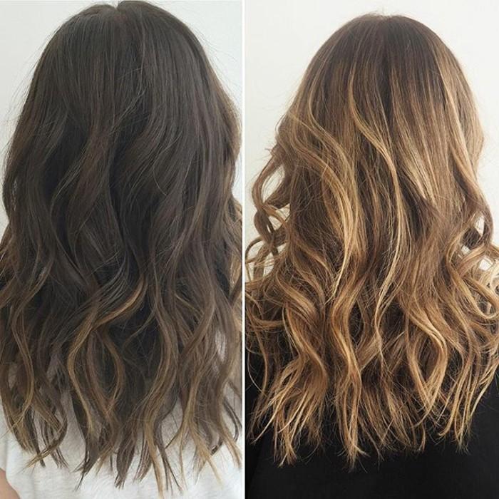 una donna dai capelli scuri con balayage: prima e dopo il trattamento