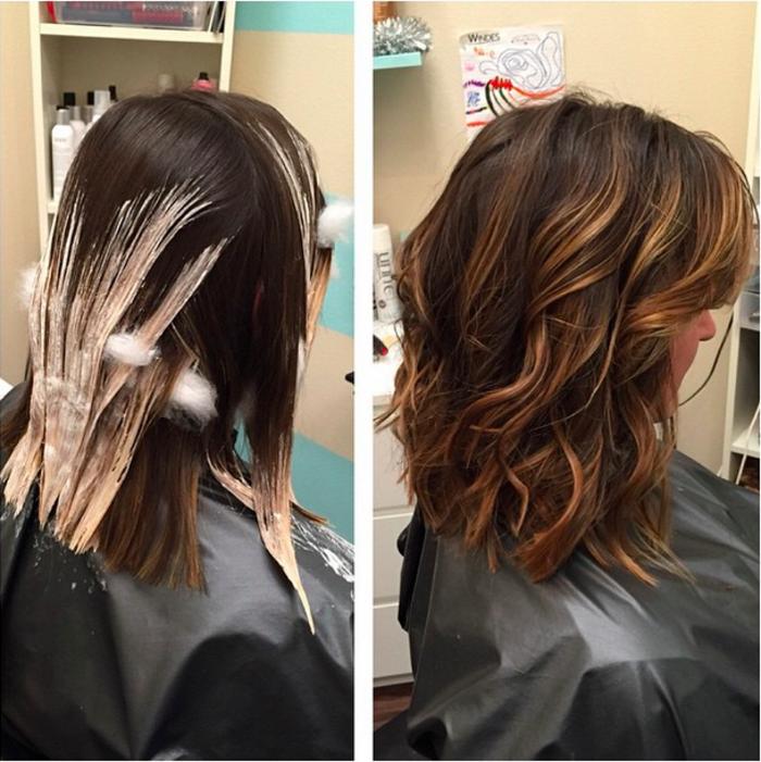 una donna con un bob e dei balayage su capelli castani, prima e dopo il trattamento