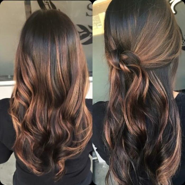 una proposta di balayage castano chiaro su capelli lunghi e raccolti con un morbido nodo