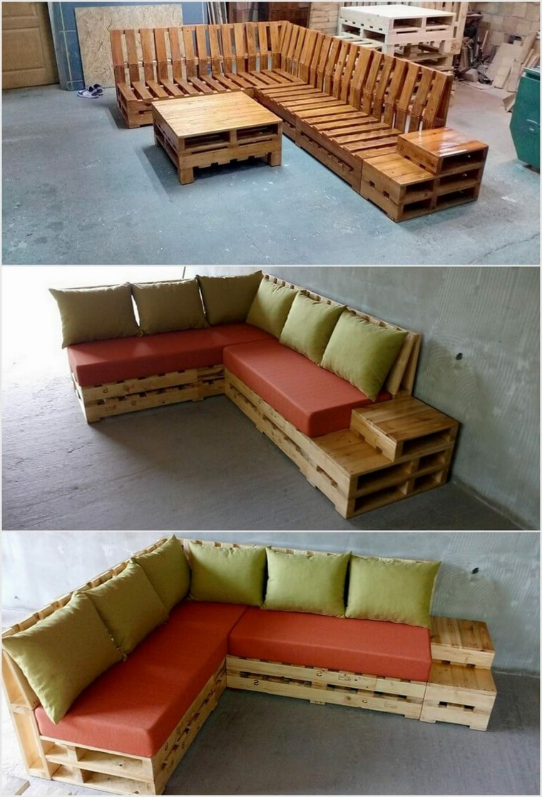 1001 idee per divani con bancali per interni ed esterni - Mobili con bancali di legno ...