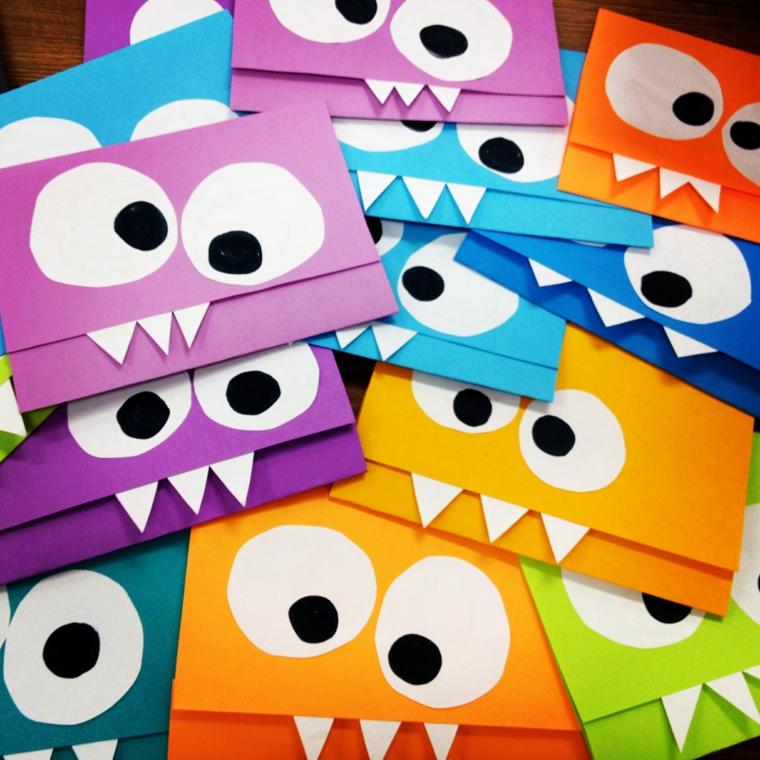 colorati e mostruosi biglietti di invito a feste di compleanno di bambini