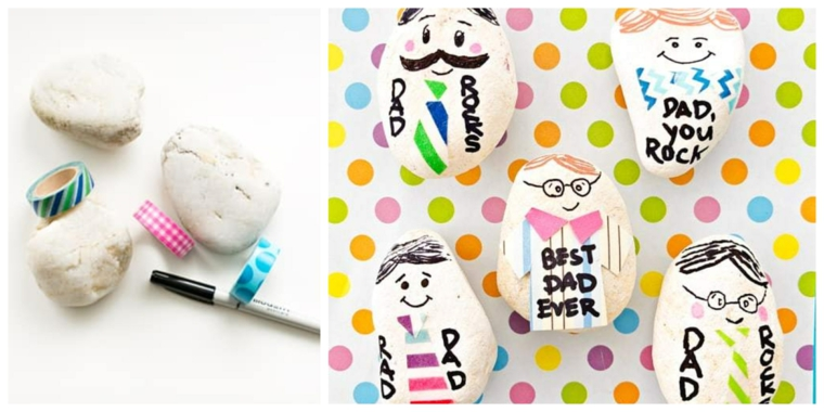 festa del papà 2021 lavoretti sassolini bianchi disegnati con pennarelli e scritte