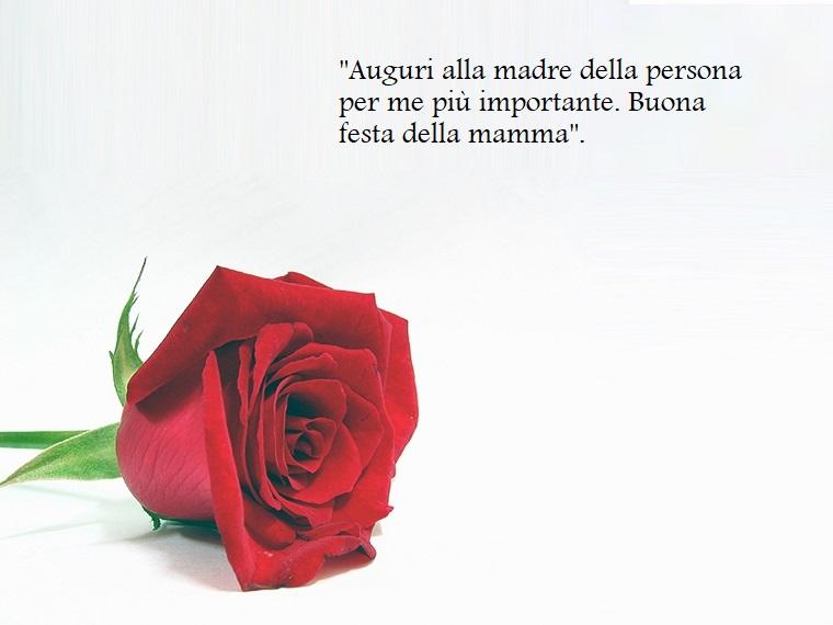 Immagine con una rosa rossa e sfondo bianco, scritta per la festa della mamma