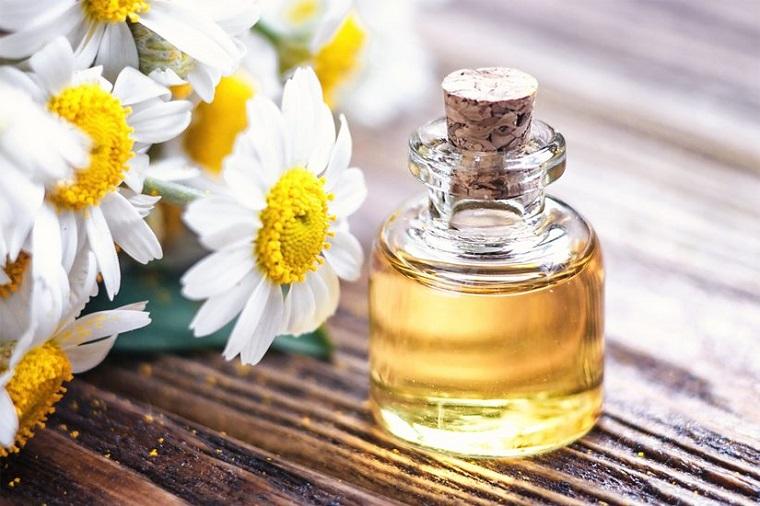 Idea per oli essenziali, fiori di camomilla, boccetta di vetro con un tappo di sughero