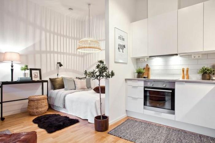 una soluzione d'arredamento per case piccolissime con una parete che divide la zona cucina da quella notte