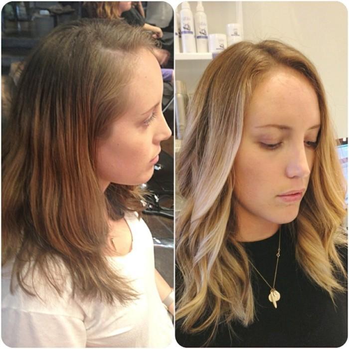 il risultato del balayage biondo su capelli castani: l'immagine prima e quella dopo
