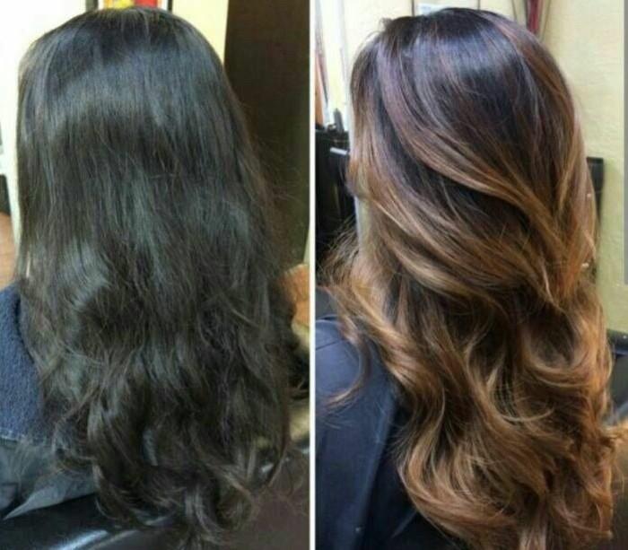 i capelli prima e dopo: tutta la luminosità del trattamento balayage castano