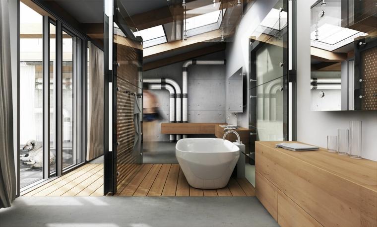 Rivestimenti bagni moderni immagini, bagno con mobili in legno, vasca freestanding