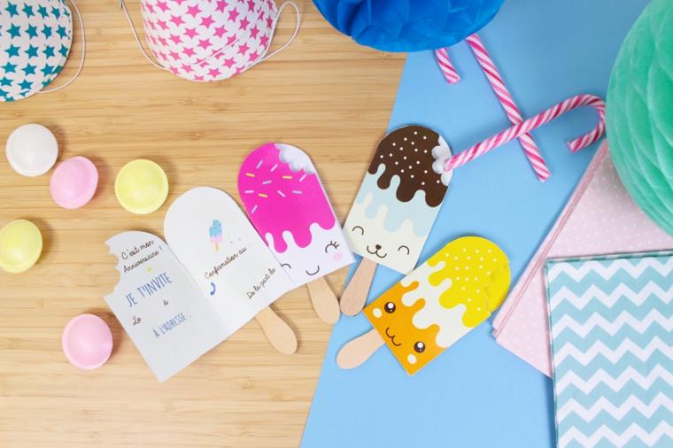 ghiaccioli di carta colorati come inviti compleanno bambini facili da realizzare