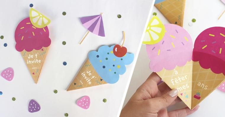 coni gelato di carta colorata come inviti per feste di compleanno creativi