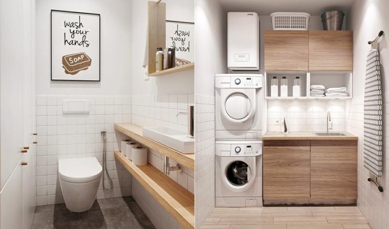 Come arredare un bagno piccolo, lavandino da appoggio, mensole di legno, ambiente lavanderia