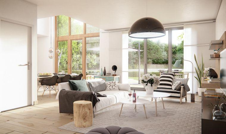 Open space soggiorno e sala da pranzo, come arredare casa, mobili salotto in legno e cuscineria colorata