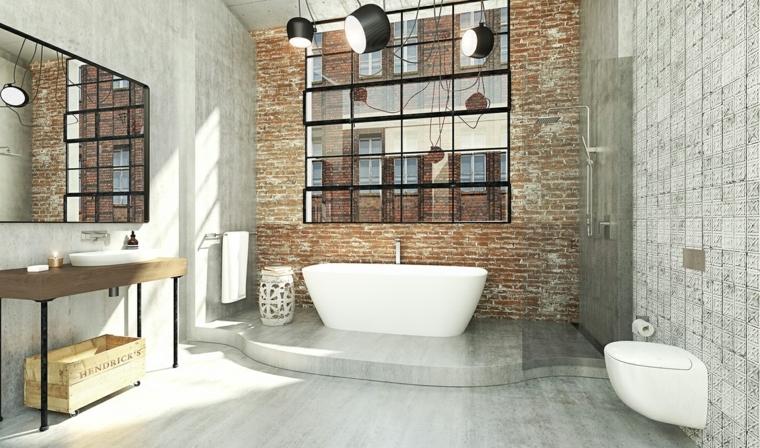Arredo bagno moderno, parete con mattoni in vista, cassetta di legno, mobile lavandino da incasso