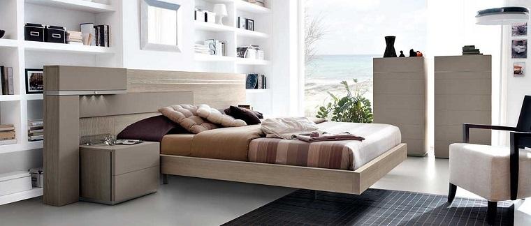 Idee arredo casa, camera da letto con parete in cartongesso e nicchie, mensole a vista con accessori