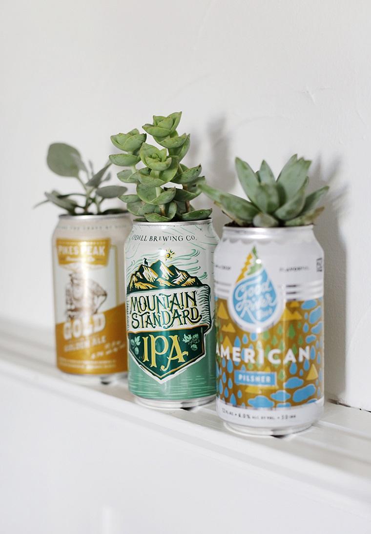 lavoretti per il papà facili vaso per piante verdi lattina di birra trasformata in vaso