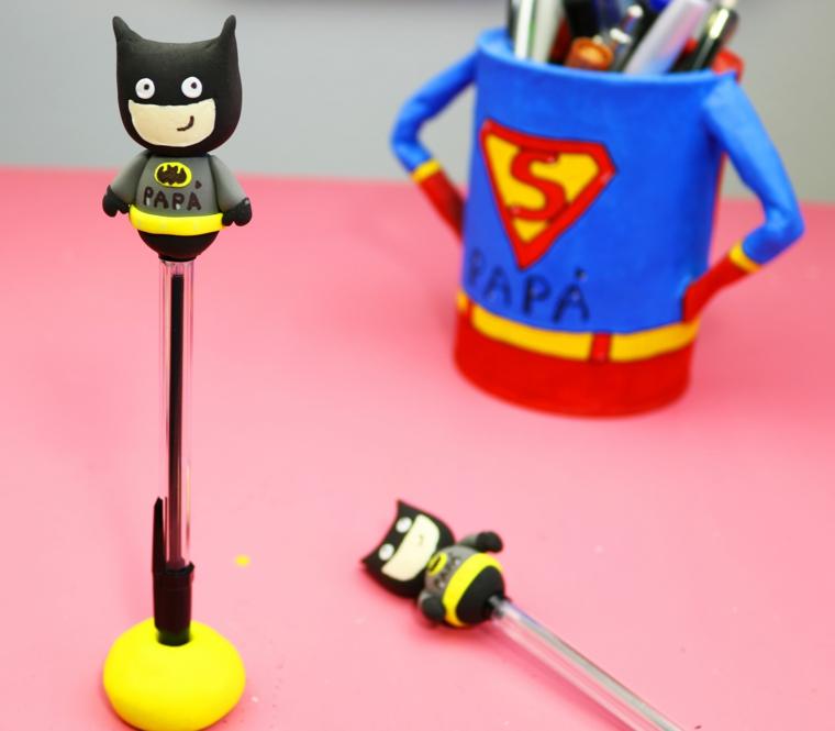lavoretti per la festa del papà portapenne con figurina di superman tazza colorata con scritta