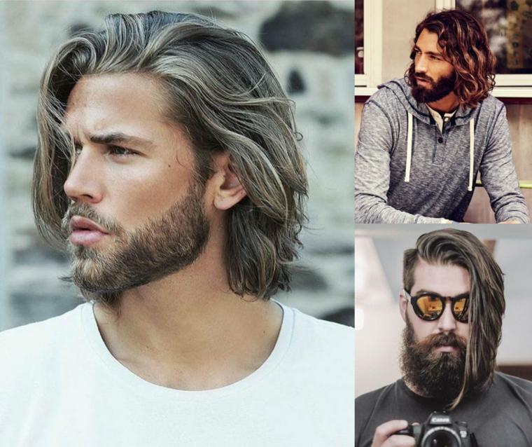 Collage di tre uomini con capelli lunghi, capelli rasati uomo e scalati