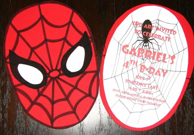 idea fai da te per l'invito festa compleanno di un bambino con il tema di spiderman