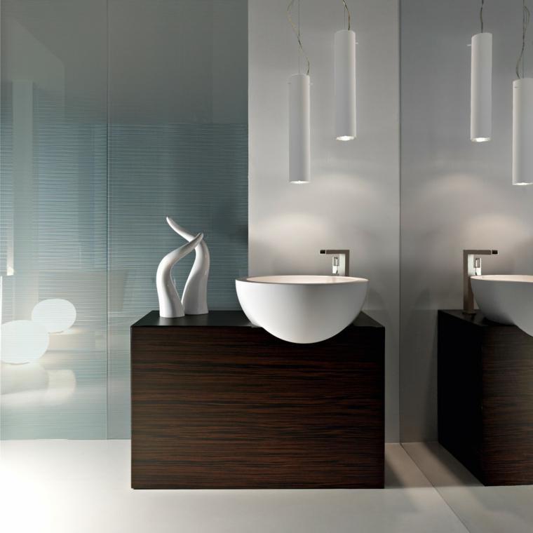 Idea arredamento mobile di legno, bagni moderni piccoli, lavandino da appoggio forma rotonda