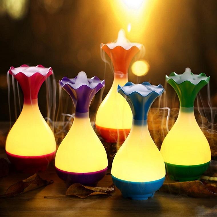 Aromaterapia con oli essenziali, cromoterapia con lampade diffusori, illuminazione led