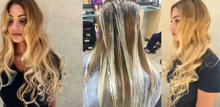 una fase della realizzazione del balayage capelli lunghi e biondi con un'acconciatura ondulata