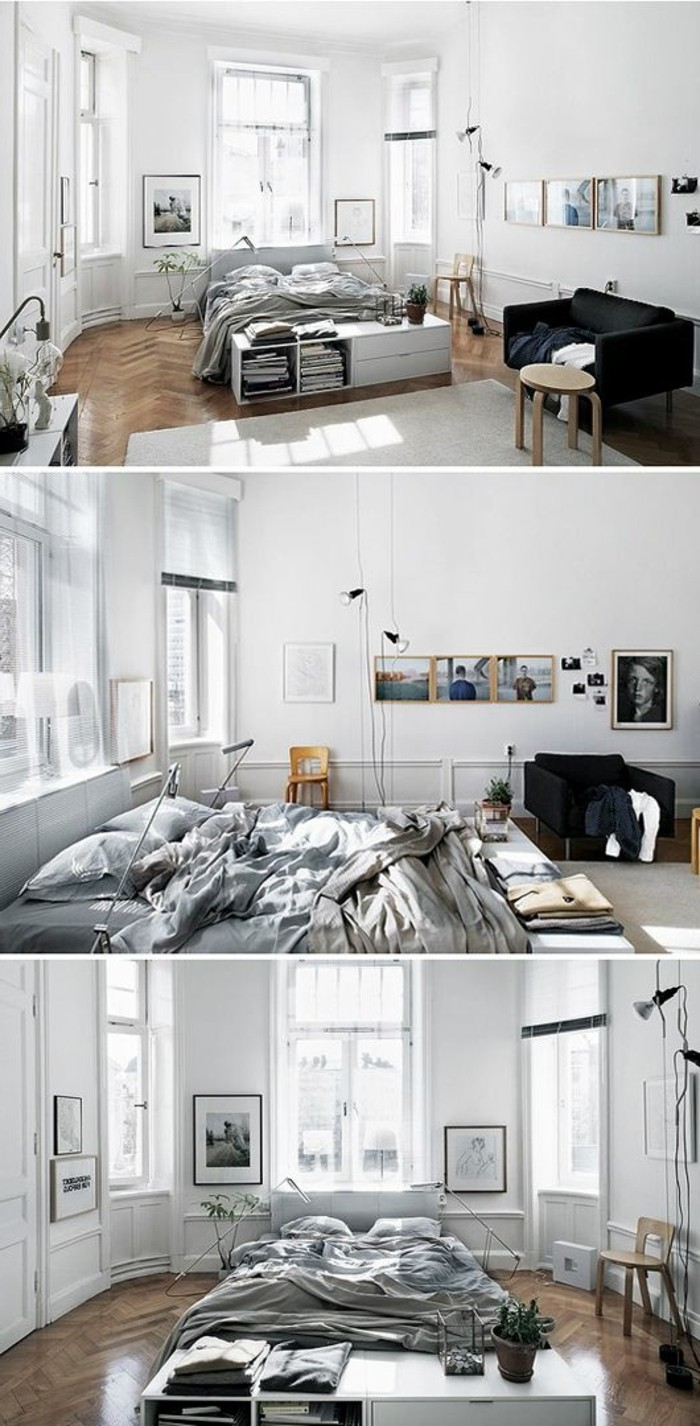 soluzione per arredare monolocale con pareti bianchi, divano, letto e alcuni quadri