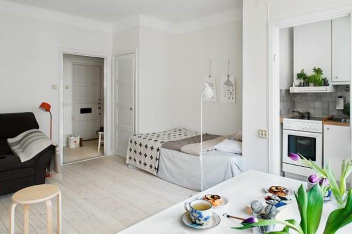 alcune idee piccolo casa con pareti, porte e mobili della cucina bianchi, divano nero con tavolini