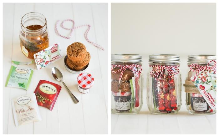 Barattolo di vetro con bustine da tè, regalini Natale, barattoli legati con spago rosso bianco