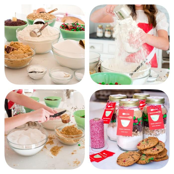 Ciotole con ingredienti per biscotti, barattoli con ingredienti, regalini Natale