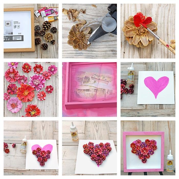 Cornice di legno con fiori, pigne dipinte come fiori, regali fai da te, tutorial per decorare una cornice