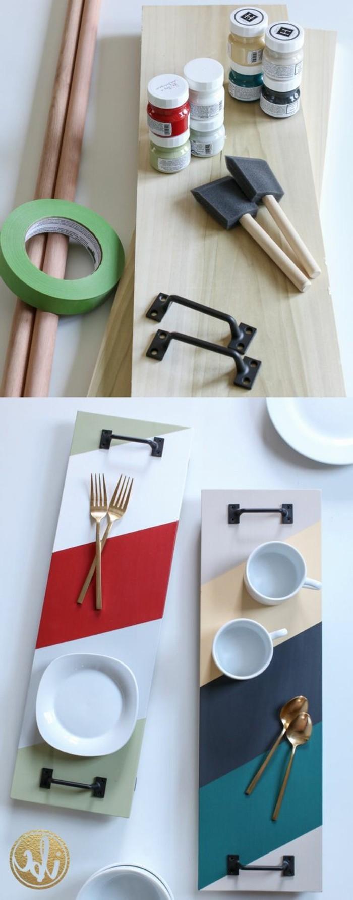 Regali fatti a mano, piatto di legno disegnato con colori, due manici di metallo colore nero