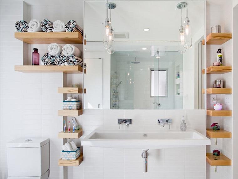 Bagni moderni piccoli, arredamento con mensole di legno piccole, lavandino grande design semplice