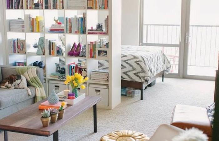 una libreria con contenitori alla base, un tavolino in legno basso con dei vasi: alcune idee per case piccolissime