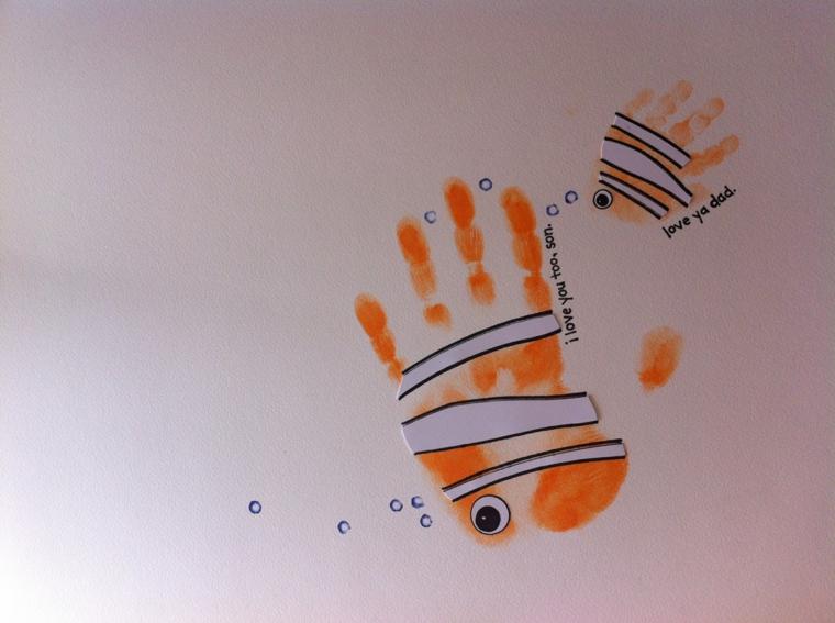 impronte di mani colorate come il pesce nemo: idee per la festa del papà originali e creative