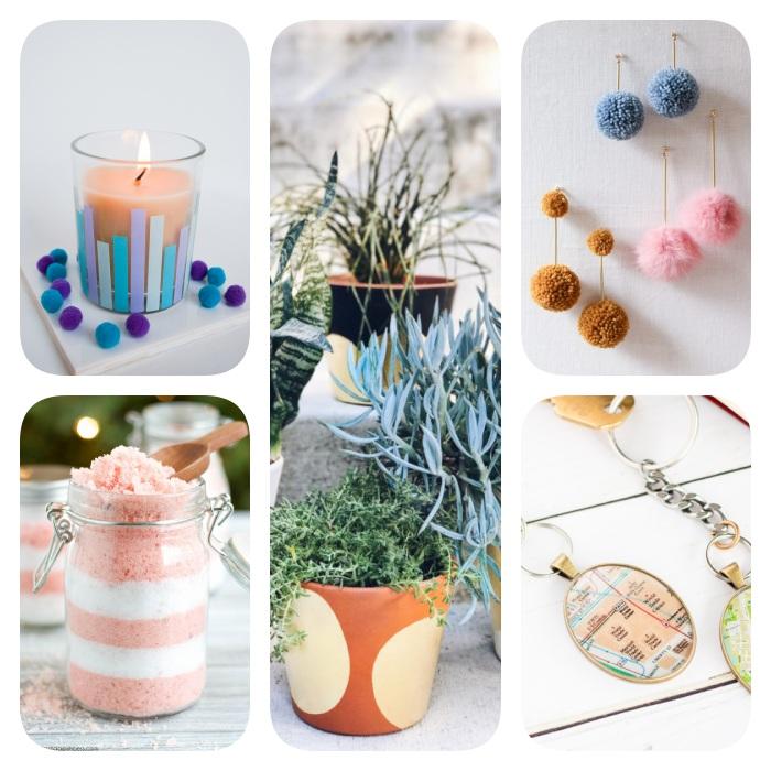 Pensierini di Natale, candela in bicchiere di vetro, vaso di terracotta dipinto, orecchini donna con pompon