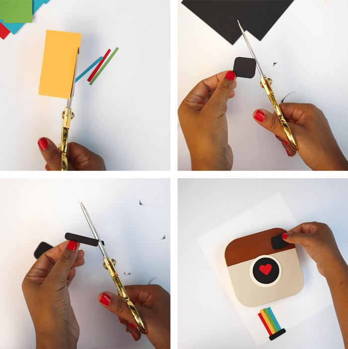 Tutorial per scatola per foto, logo di Instagram, sorprese per lui fai da te, ritagliare i cartoncini colorati