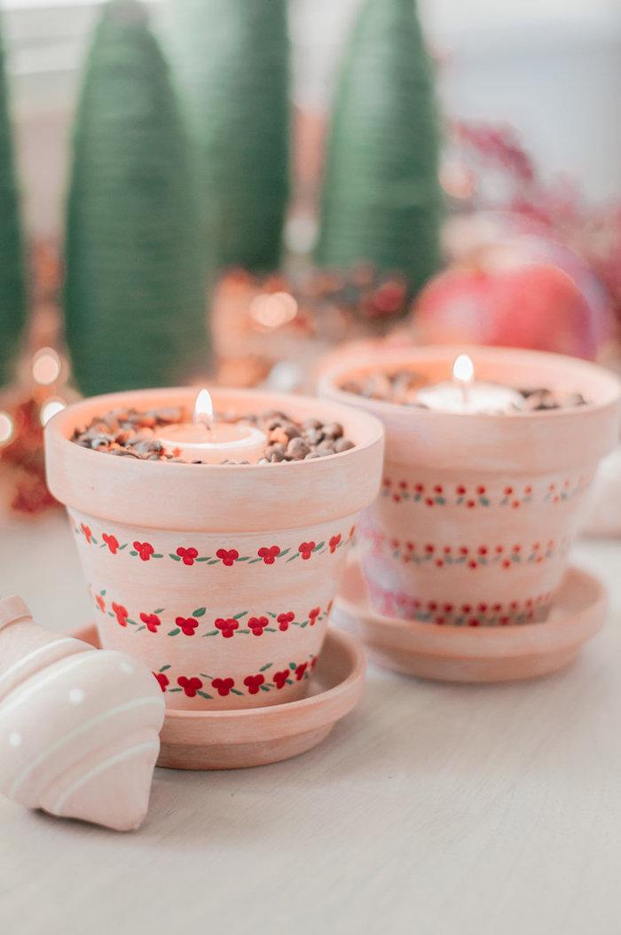 Pensierini di Natale, vaso di terracotta con disegni, portacandela fai da te