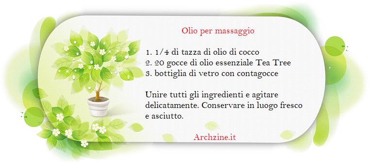 Olio essenziale Tea Tree per massaggi, cornice con motivi floreali di colore verde e ricetta