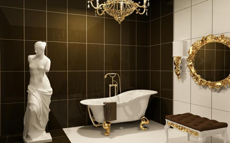 Come arredare un bagno, piastrelle di colore nero e bianco, vasca con ornamenti in oro