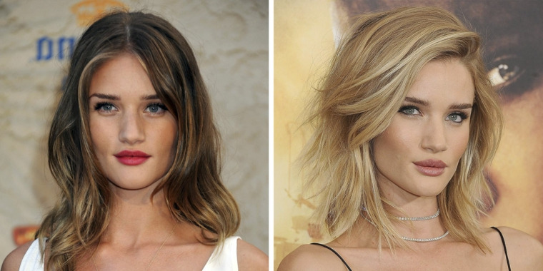 prima e dopo: rosie huntington prima con i capelli color cioccolato e miele poi biondo platino
