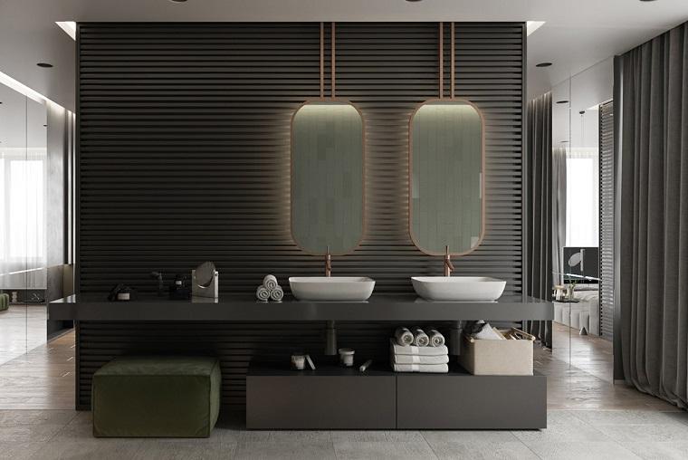 Come arredare casa, sala da bagno con mobili moderni di colore nero, due vanity da appoggio con specchi rettangolari